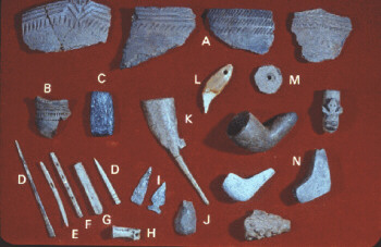 A collection of Adena artifacts including pottery sherds, bone tools, a bone flute, pendants, pipes, and arrowheads.