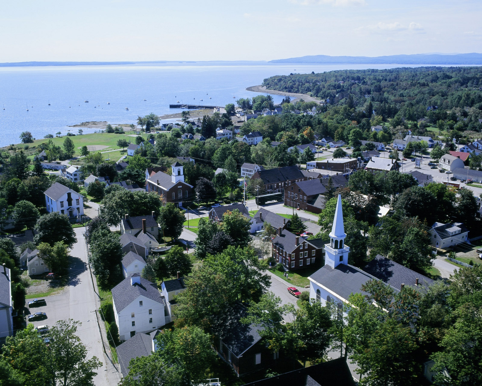 Aerial image of Penobscot Marine Museum nestled in the seaside town of Searsport.