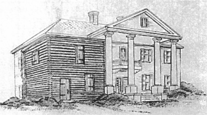 The Andrew Ross Home, courtesy of The Landmarks Society of DeKalb County, Inc. This sketched illustration of the home shows how the logs used in its construction are still in the existing walls, built by the Cherokee leader and his wife.