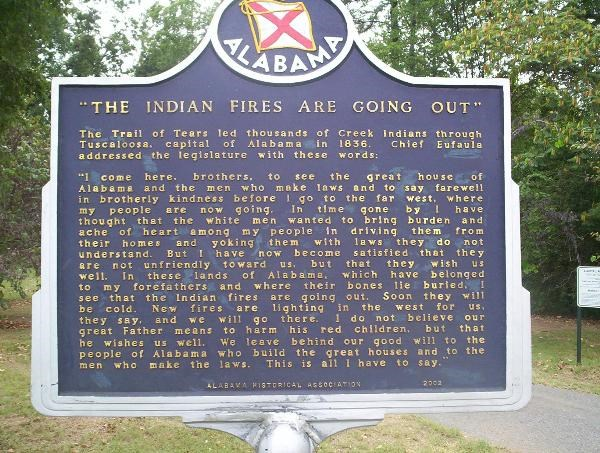 Trail of Tears marker in Tuscaloosa, Alabama. Courtesy of Waymarking.com. http://www.waymarking.com/waymarks/WM230D_Trail_of_Tears_Historic_Marker_Tuscaloosa_Alabama