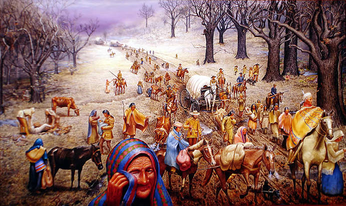 Trail of Tears oil painting by Max D. Standley courtesy of andrewjacksonpolicies.weebly.com