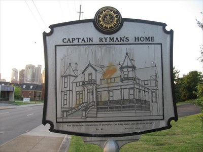 This historic marker shows a rough sketch of what Ryman's home looked like