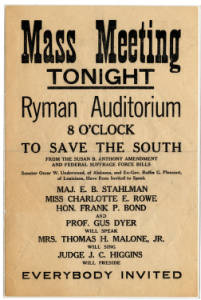 An August 19, 1920 poster calling for a rally at the historic Ryman Auditorium to protest the vote the previous day by the Tennessee House of Representatives ratifying the 19th Amendment