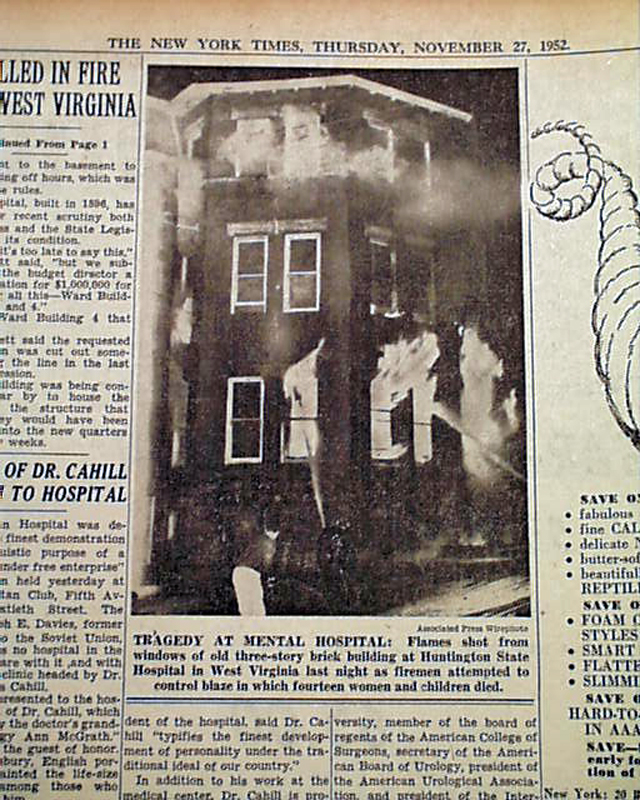 Huntington State Hospital Fire November 26, 1952