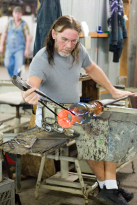 Handcrafting glass at Blenko