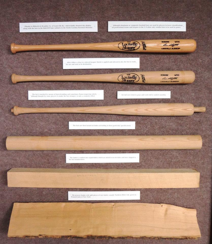 Steps in the production process for a baseball bat.