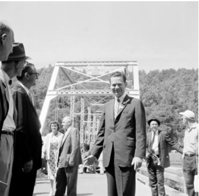 Newscaster David Brinkley at the dedication of the Brinkley Bridge in 1961