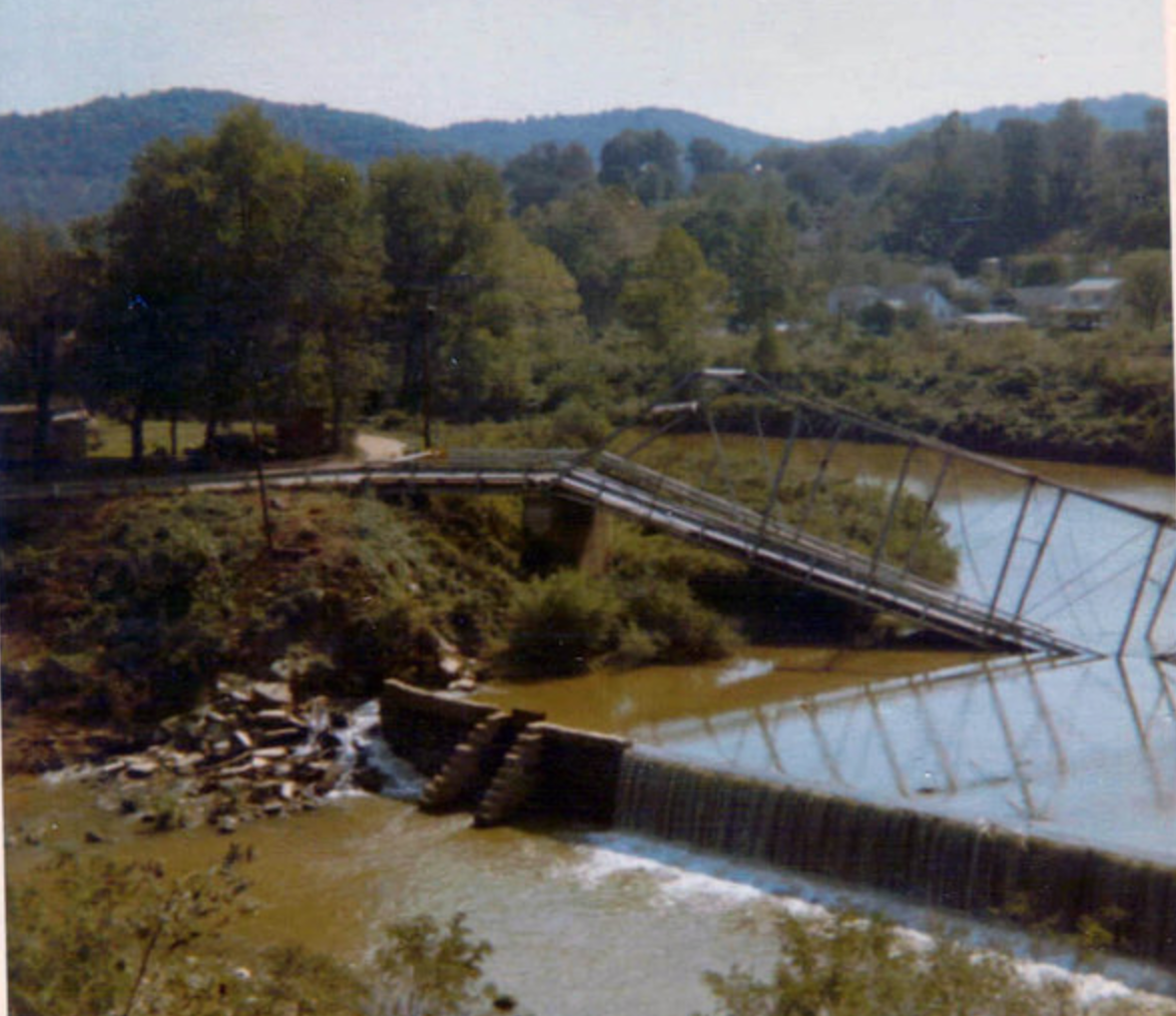 Brinkley Bridge after its collapse in 1970