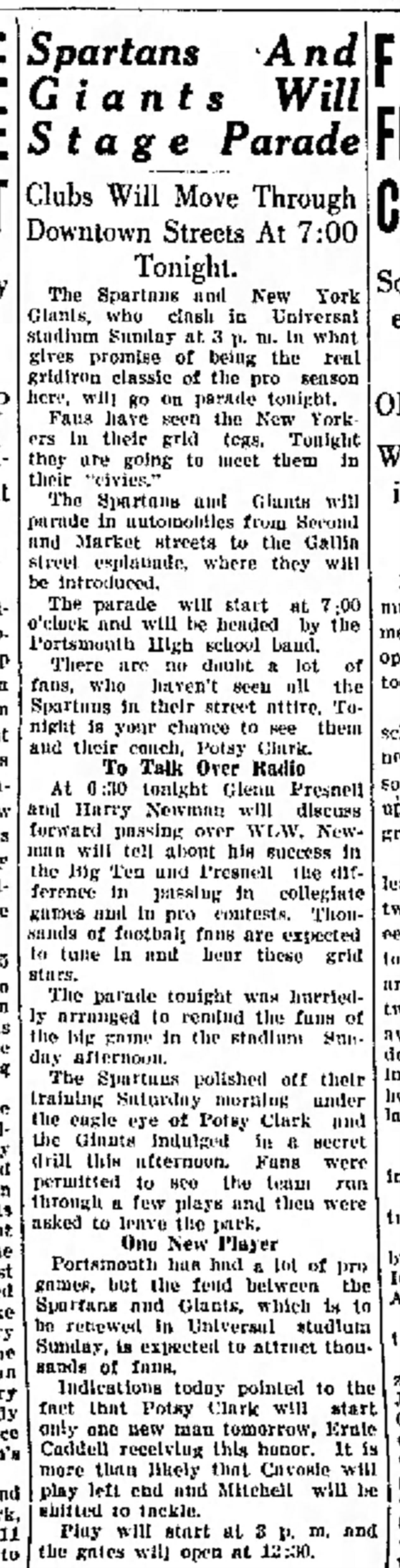 A Portsmouth Daily Times announcement of a parade which may be connected to the game film attached in this entry. Dated September 23, 1933.