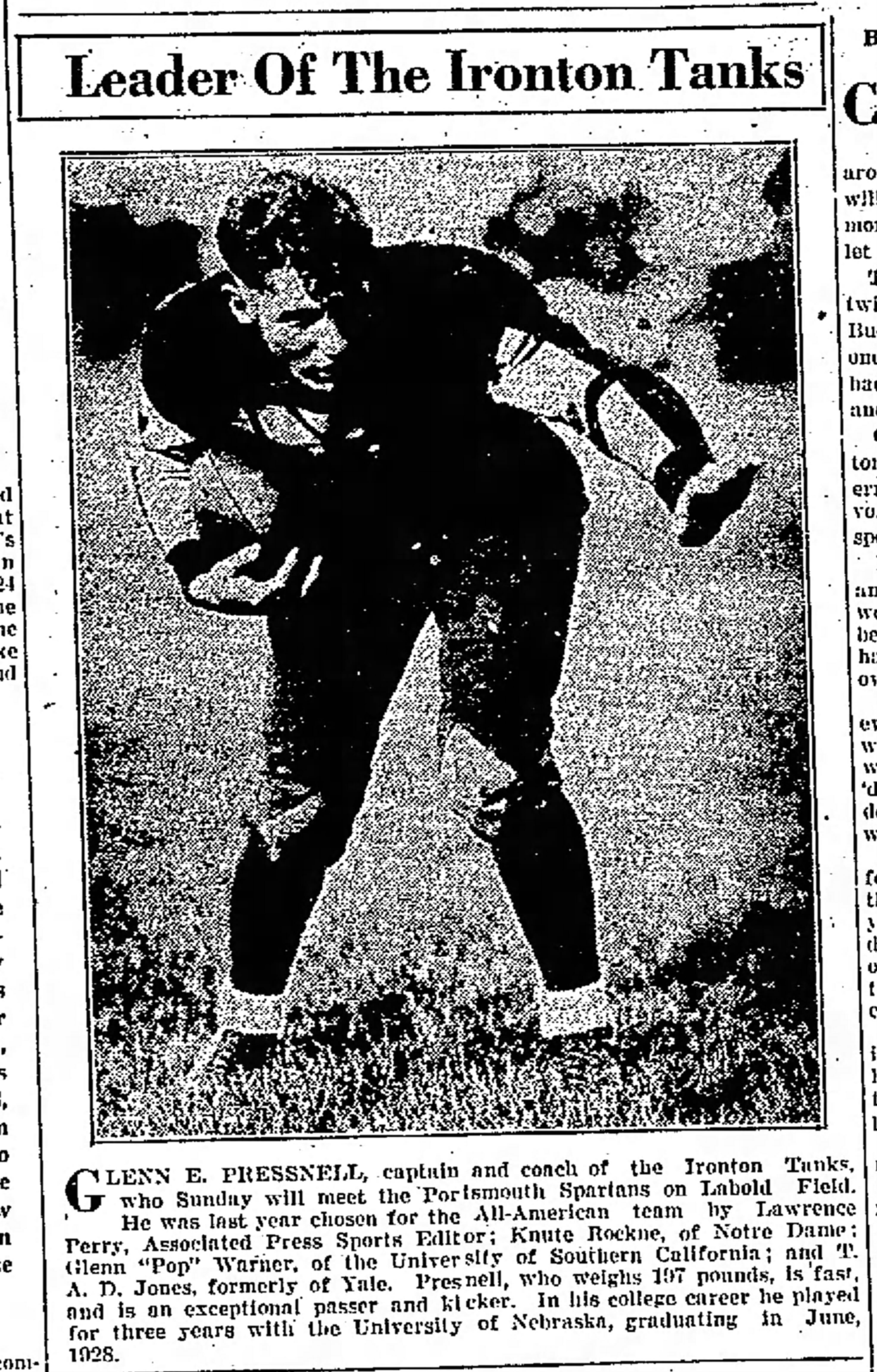 Tanks player Glen Pressnell, Portsmouth Daily Times, October 19, 1928