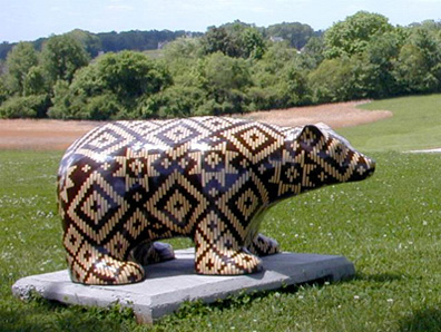 Photo of the Cherokee Basket Bear, courtesy of the Sequoya Birthplace Museum official website
