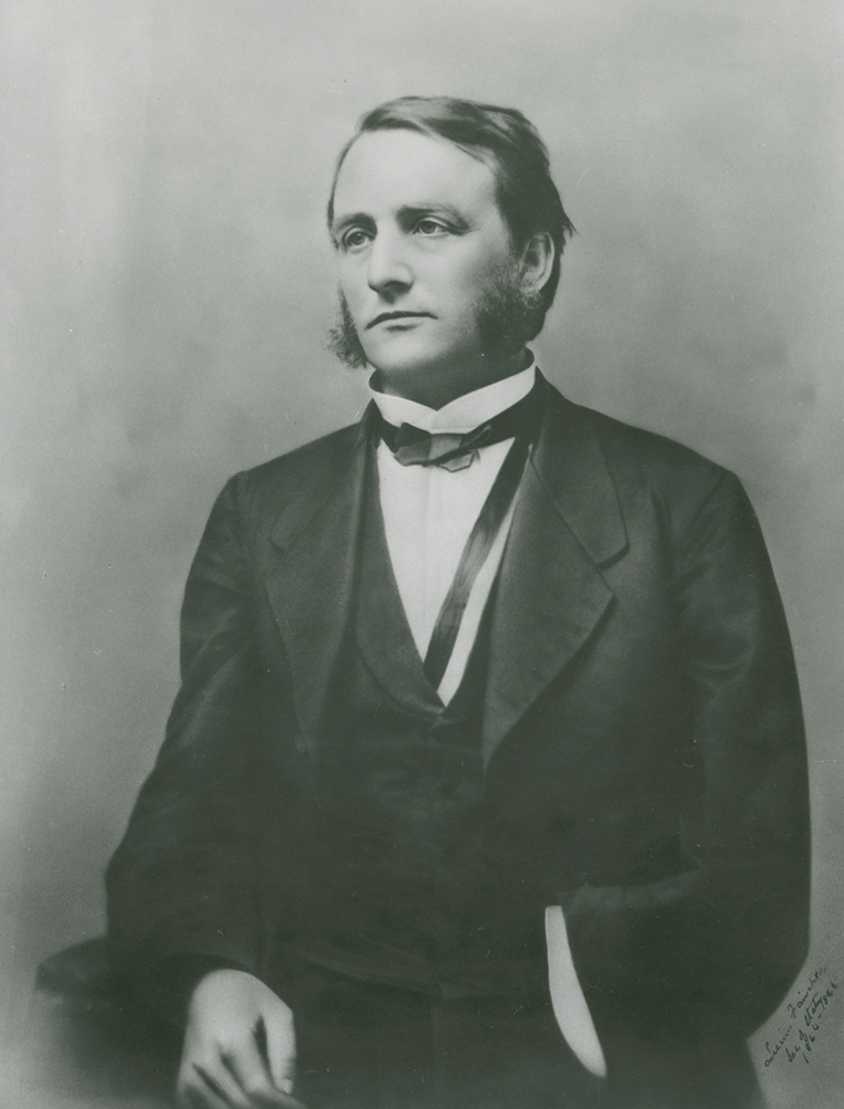 Photograph of Major and Governor of Wisconsin, Lucius Fairchild.  The photograph was taken several years after his left arm was amputated from a wound received during the Battle of Gettysburg.