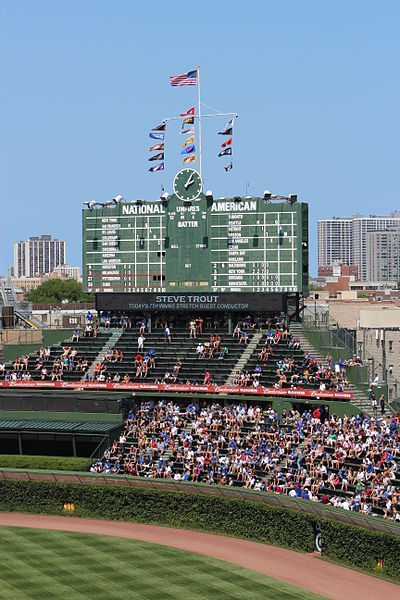 The famous outfield bleachers and scoreboard at Wrigley Field.