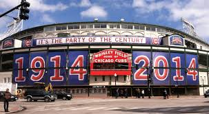 Wrigley Field's famous marquee during the stadiums centennial season.