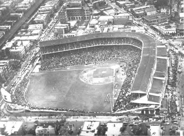 Aerial view of Wrigley Field after completion of the outfield renovations in 1937.