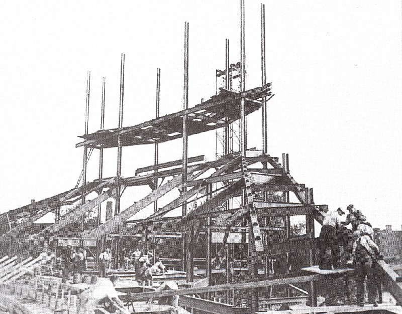 Construction of the famous outfield bleachers and scoreboard in 1937.