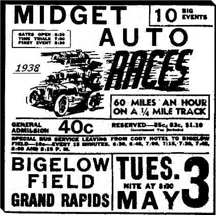 Ad for midget car racing at Bigelow Field.