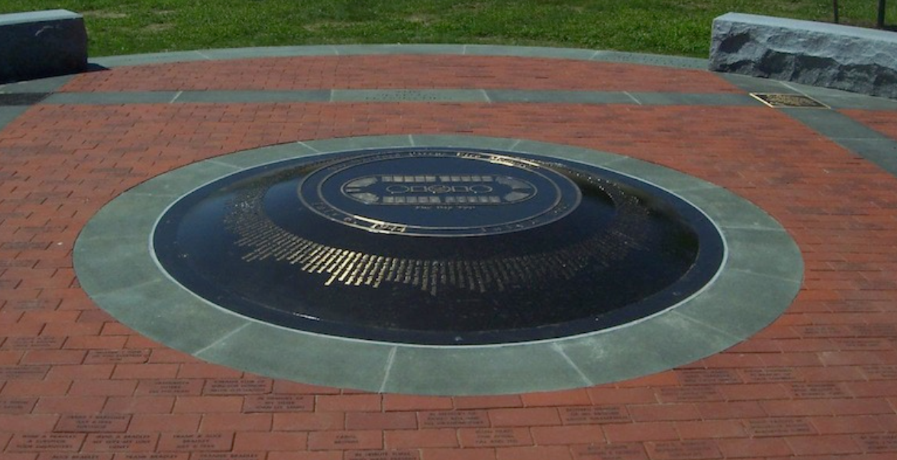 The monument marks where the center ring of the big-top was.