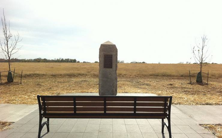 This marker pays tribute to the First Kansas Colored who fought for a government that would not recognize them as soldiers until after the Emancipation Proclamation authorized the recruitment of African American troops.