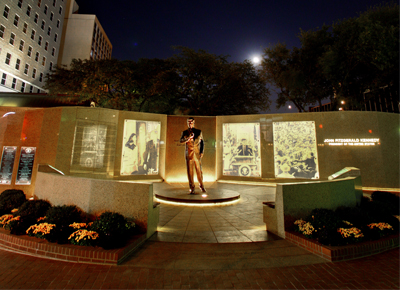 The JFK Tribute is adjacent to the location of the former Hotel Texas where the President and his wife stayed the night of November 21, 1963--the day before he was assassinated in Dallas.