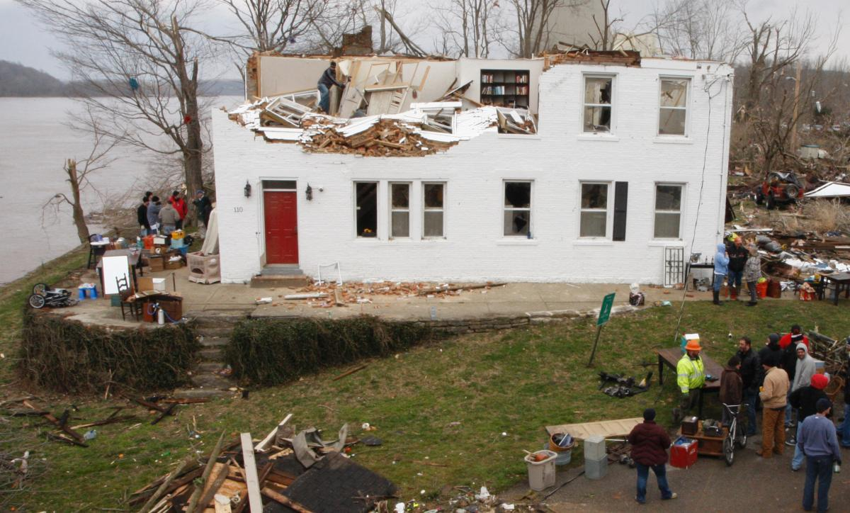 Thomas Fee, Jr. House damaged after a tornado swept through Moscow, Ohio.