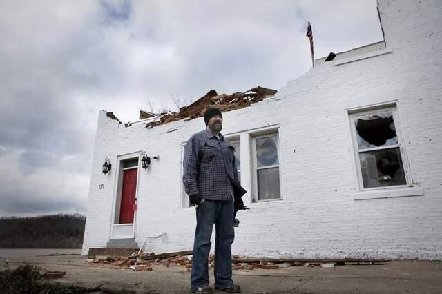 The damaged Fee House.