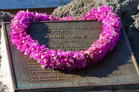 Eddie Aikau Memorial adorned with Hawaiian Lei