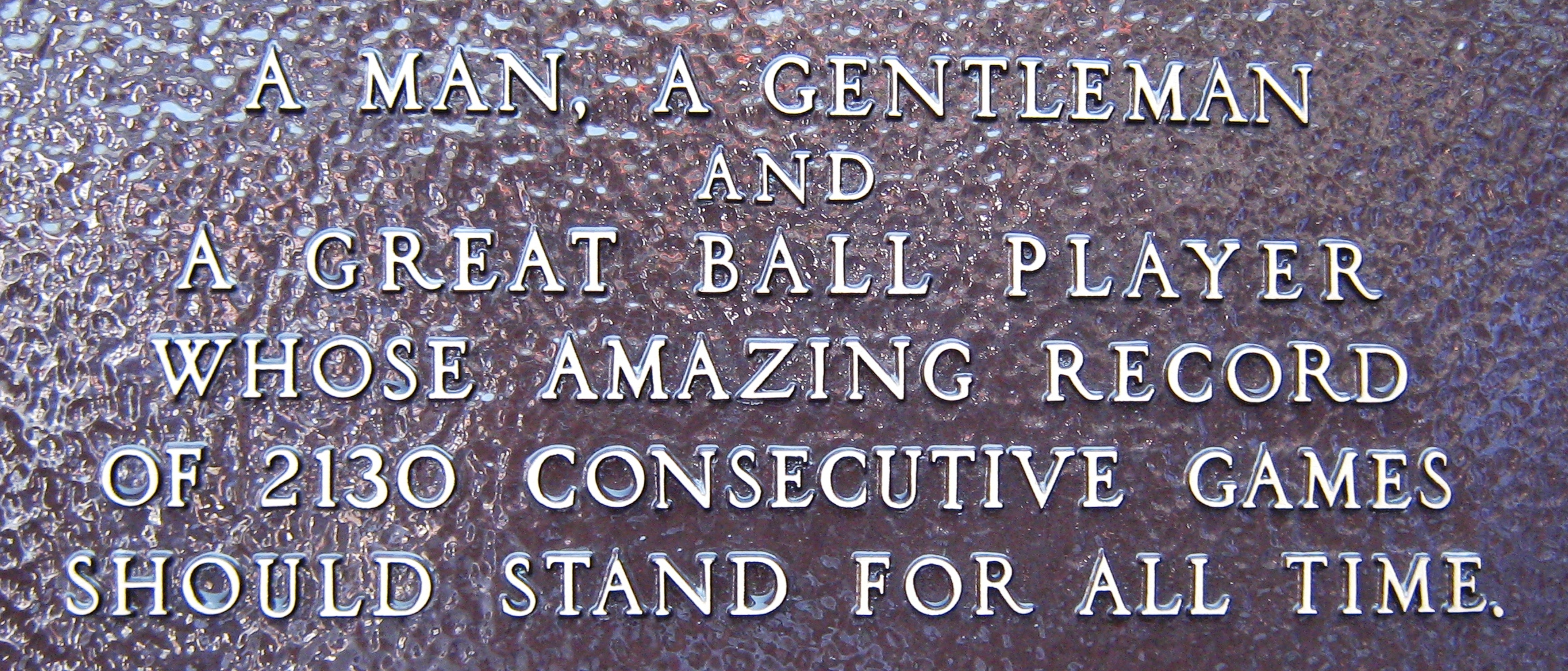 Plaque at Monument Park dedicated to Lou Gehrig.