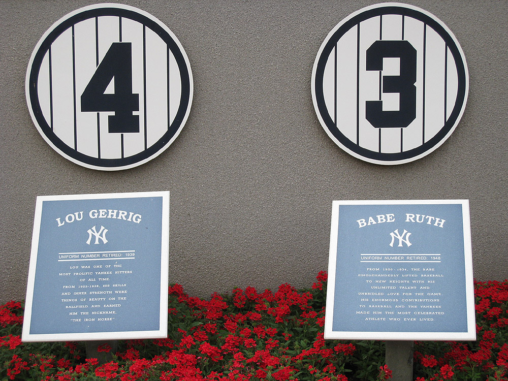 Lou Gehrig and Babe Ruth's retired jersey numbers at Monument Park.