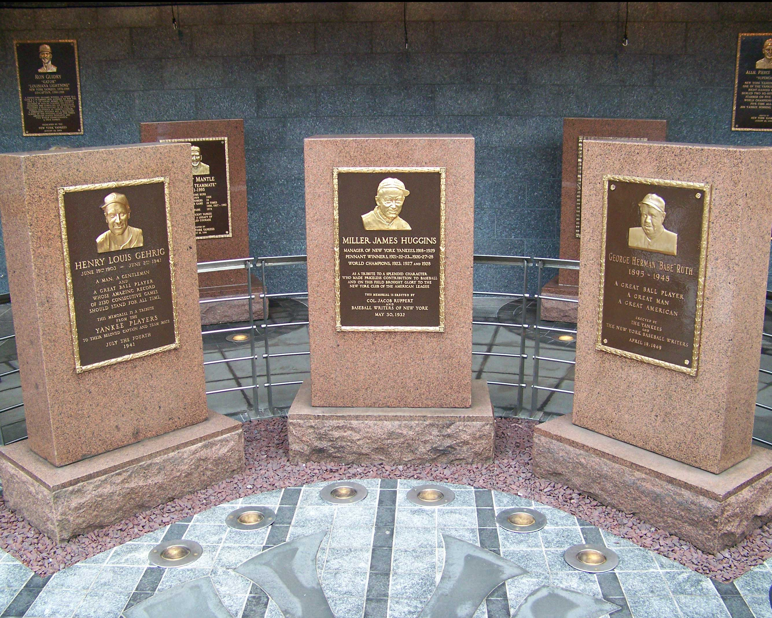 Monuments dedicated to Lou Gehrig, Babe Ruth, and Manager Miller James Huggins at Monument Park.