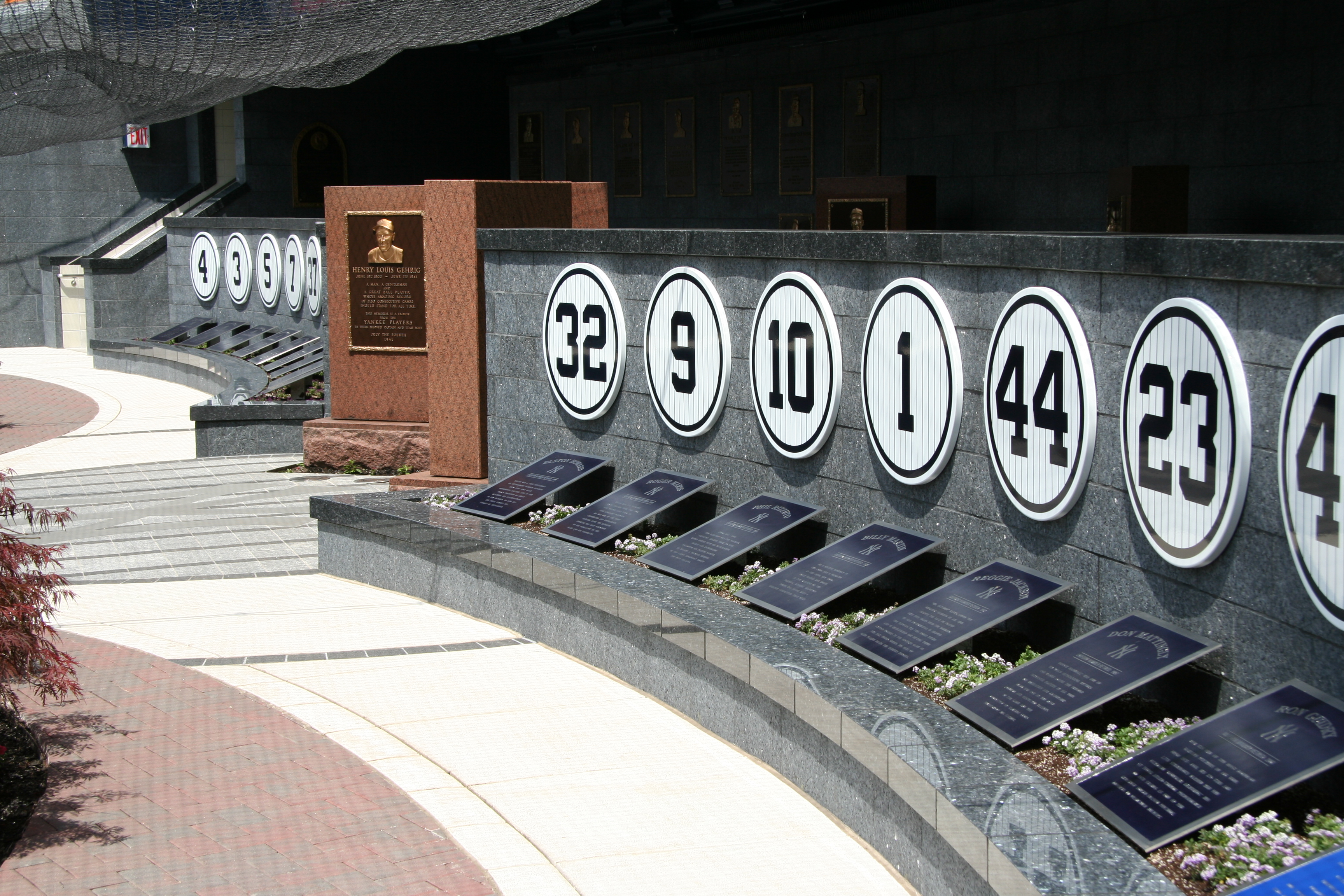 Some of the retired jersey numbers at Monument Park.