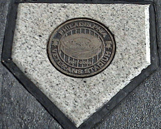 Home plate at Veterans Stadium, home to the Philadelphia Phillies for thirty-three seasons, is remembered with this granite and bronze marker in the parking lot near Citizens Bank Park.