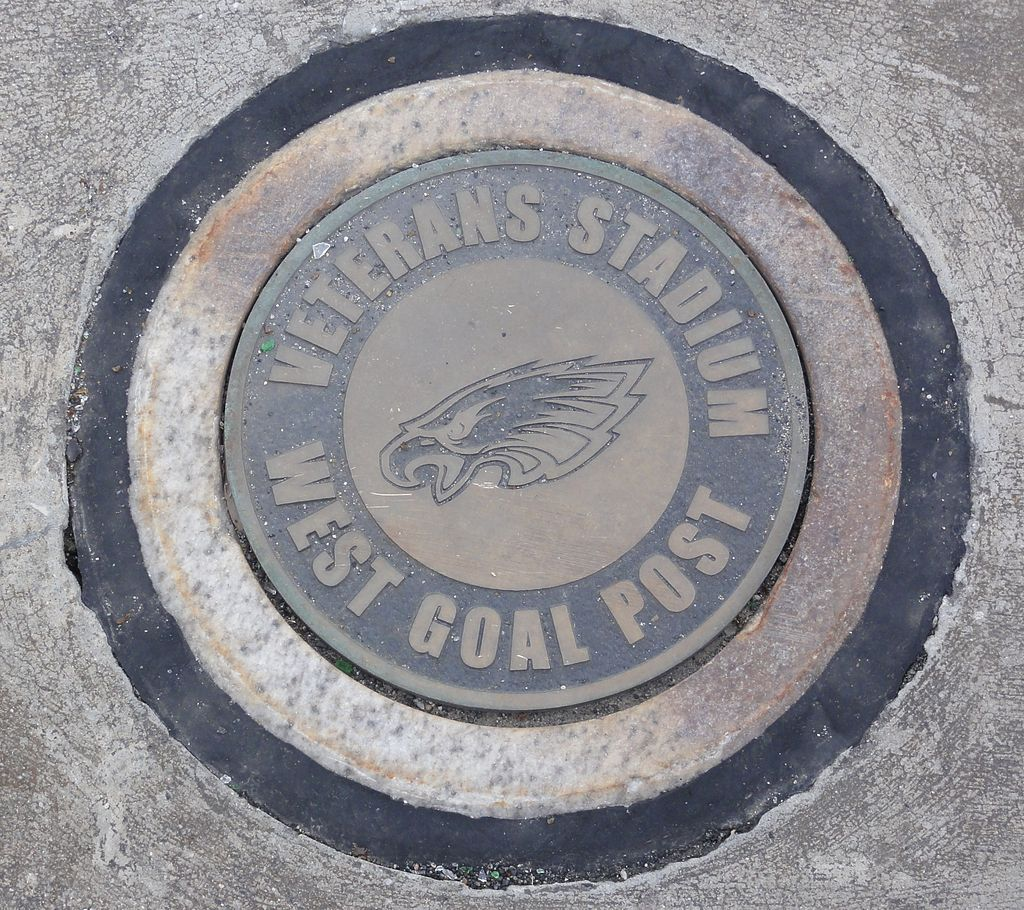 Veterans Stadium's goalpost, used by the Philadelphia Eagles for thirty-two seasons, is marked in the Citizens Bank Park parking lot