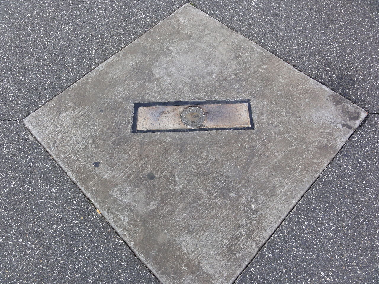 Veterans Stadium Pitching Mound Marker located in the parking lot at Citizens Bank Park.
