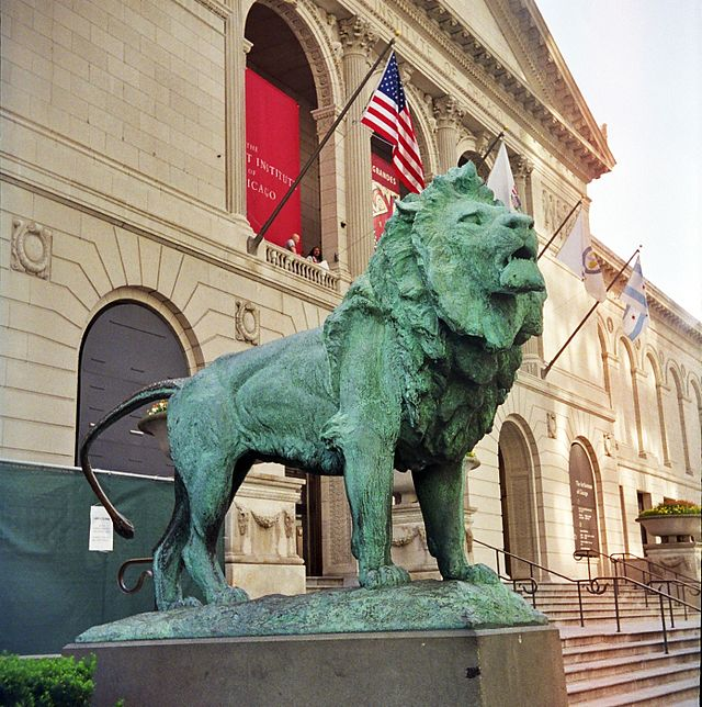 The Art Institute's famous western entrance on Michigan Avenue, guarded by two bronze lion statues created by Edward Kemeys.