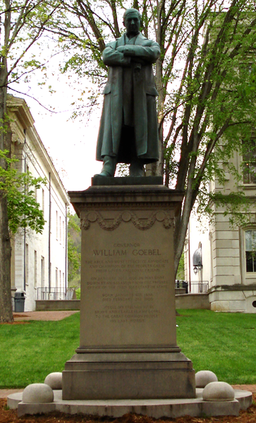 Statue of William Goebel. Kentucky Governor assassinated on the grounds of the Old Capital in 1900.