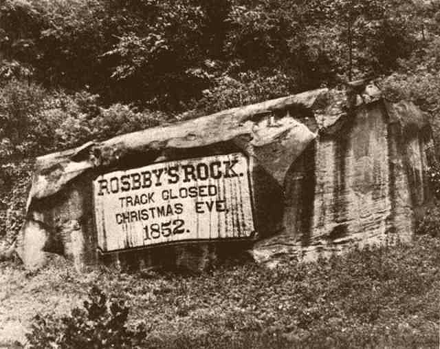 Rosby's Rock marks the location where the Baltimore and Ohio Railroad was completed in 1852.