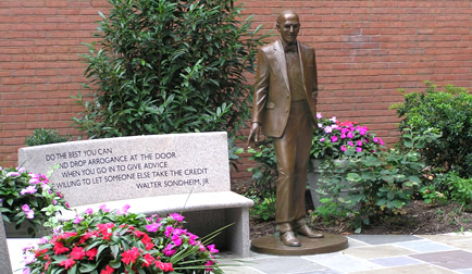 The statue pays tribute to Baltimore businessman, leader, and public servant Walter Sondheim, Jr.