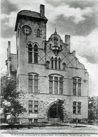 The courthouse as it was when the hanging took place. This building burned to the ground in 1921.