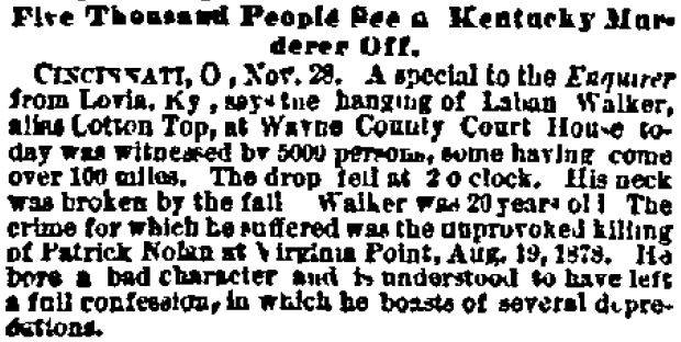 A Cincinnati newspaper article about the hanging.
