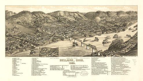 Bird's eye view of Bellaire, Ohio 1882.
