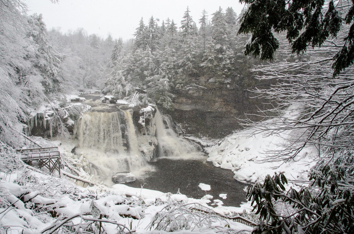 Blackwater Falls in the winter. The water partially freezes in the falls creating a beautiful effect.