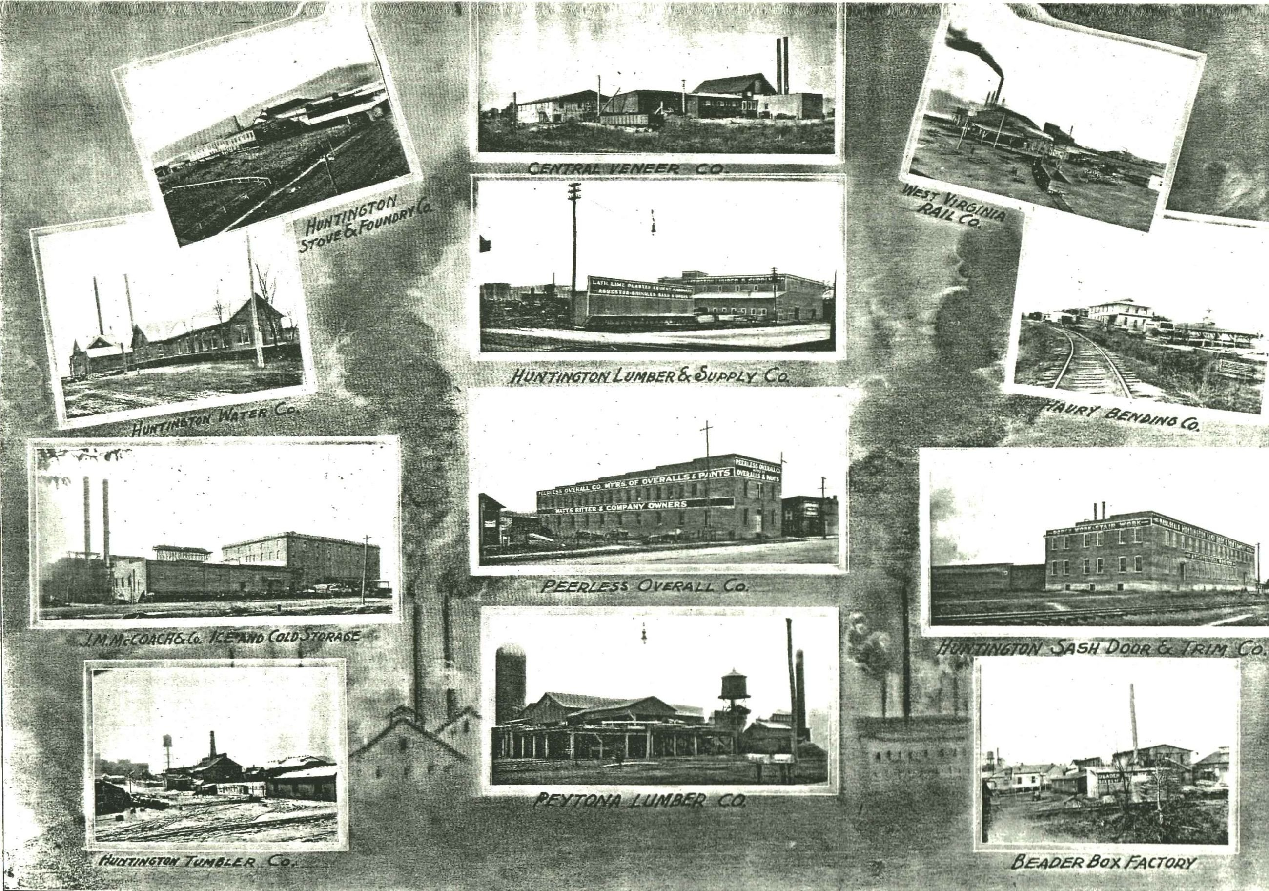 Various factories that existed in Central City and the surrounding area. Image courtesy of the West Huntington Public Library.