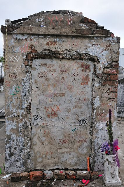 The tomb considered to possibly be Marie Laveau's, though this is debated. It is custom to write XXX on the tomb and shout one's wishes.