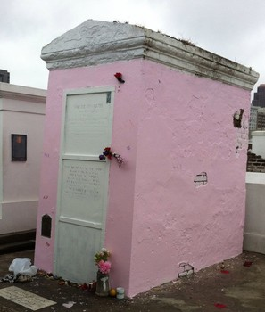 In December 2013, a mysterious vandal painted the tomb of Laveau bright pink with latex paint. The cemetery had to begin the process of removing it quickly, because the latex would not allow the old plaster to breathe, thus destroying the tomb.