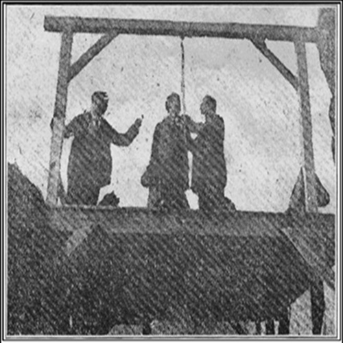 Picture of John Morgan with Sherriff Shinn right before the hanging.