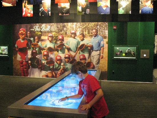 Interactive touch screens at the Little League Museum.