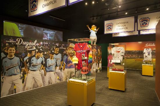 Artifacts on display at the Little League Museum.