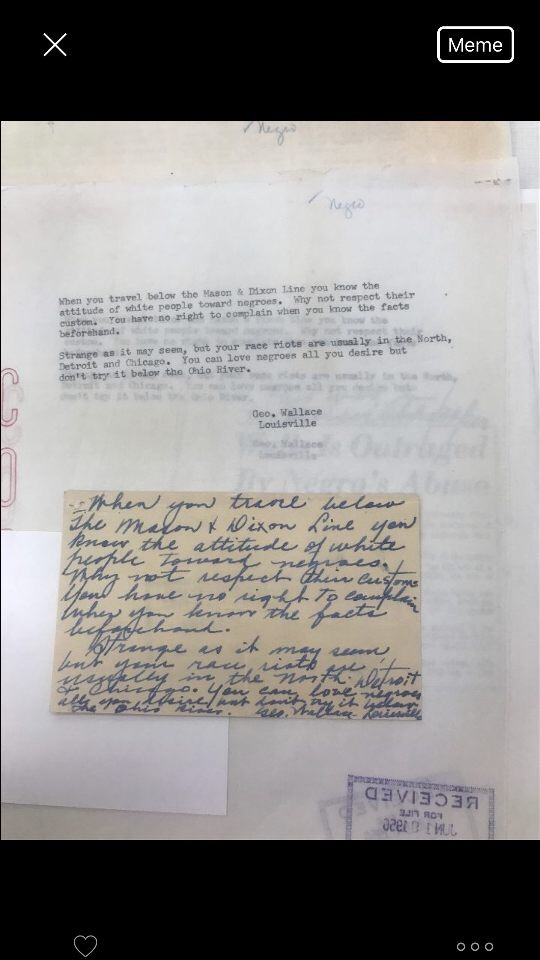 This photo is of a letter from George Wallace to Herman B. Wells. It shows how Wells was targeted for his integration of the Indiana University baseball team. This letter was sent after Wallace learned of Wells's strong comments condemning the south for the treatment of Whitehead while on the baseball spring break trip. George Wallace was a very notoriously known segregationist during the 1950s and was not happy with the negative depiction of the south illustrated by Wells's statements in the papers. It is important to see the negative backlash which he had to deal with from individuals such as George Wallace.
