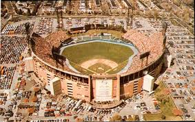 An aerial view of the stadium, which was demolished in 2001.